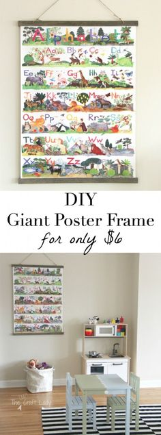How to make a large poster frame for only $6! This is a super-easy tutorial for making a custom frame... with an amazing top to keep your poster from ripping!
