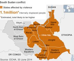 Map of South Sudan states affected by conflict