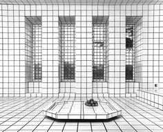 'La Maison de La Celle-Saint-Cloud' is an art installation from 1974, in a house built by French artist, Jean Pierre Raynaud. He began to build this house in 1969 using entirely white tiles with black grout. In 1974, the house was opened to the public in Paris but then in 1988, the artist decided to closed the house to himself only and subsequently demolished it in 1993 then presented the debris in 976 surgical containers.