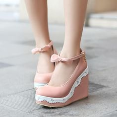 Women new fashion summer Spring round toe wedges high heels pumps casual buckle shoes large plus size Cute Girl Shoes, Girls Shoes, Pretty Shoes, Beautiful Shoes, High Heel Pumps, Pumps Heels, White Heel Boots, Kawaii Shoes, Lolita Shoes