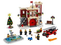 Buy LEGO Winter Village Fire Station Set from This LEGO Creator Expert set contains 1218 pieces including 8 minifigs. Lego Creator, The Creator, Lego Sets, Lego Winter Village, Lego Knights, Holiday Train, Free Lego, Lego Store, Atelier