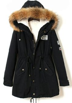 Black Raccoon Fur Hooded Drawstring Parka