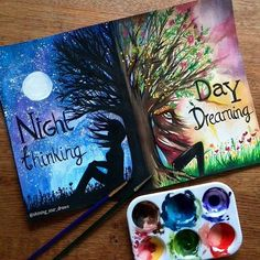 Night thinkingDay dreaming☀ I saw this text and I decided to make a painting…