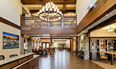 Entryway inside Paintbrush Assisted Living, inspired by the Ahwahnee Lodge in Yosemite.