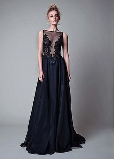 Attractive Tulle & Organza Bateau Neckline A-Line Formal Dresses With Beaded Embroidery