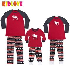 KIDLOVE Christmas Family Set Deer Print Soft Cotton Home Wear T-shirt Pant Pajamas Set Xmas Gift for Mother Daddy Baby Kids ZK30