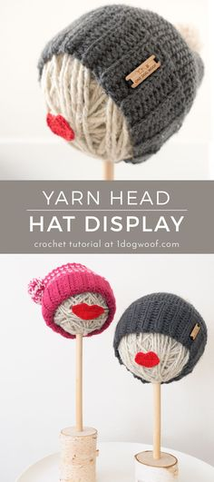 Instructions on how to make your own fun and trendy yarn ball hat stand, perfect for craft fairs and holiday shows. | www.1dogwoof.com