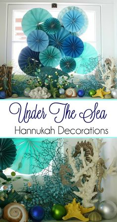 "Be inspired by this ""Under The Sea"" themed Hanukkah. So many festive beachy touches!"
