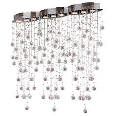 "DINING ROOM LIGHT Modern 9 light Crystal Ball Prism Rainfall Ceiling Flush Mount 42"" Rectangle x 40"" High | Overstock.com Shopping - The Best Deals on Flush Mounts"