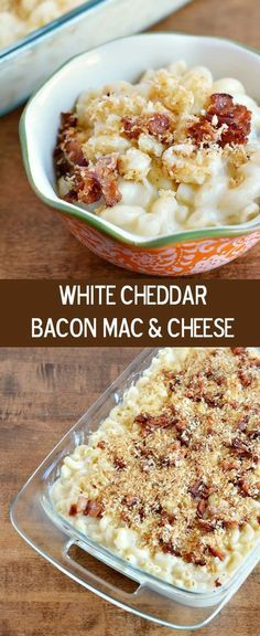 Preparing this homemade mac n cheese is simple with this white cheddar bacon macaroni and cheese recipe, it's creamy, hearty and so delicious. (pasta sides macaroni and cheese) Cheddar Mac And Cheese, Mac And Cheese Homemade, White Cheddar, Mac Cheese, I Love Food, Good Food, Yummy Food, Paula Deen, Macaroni Cheese Recipes