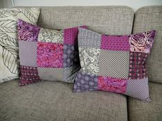 Patchwork pillows by Naztrida, via Flickr.  From connectingthedots.dk
