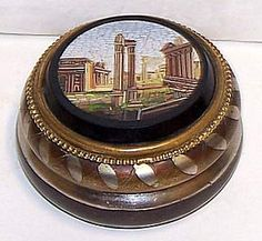 19th century micro mosaic box with a scene of the Roman Coliseum set into a marble roundle.