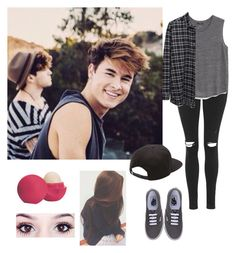 """""""Filming with Kian and Jc"""" by lexixoxoespinosa ❤ liked on Polyvore featuring Topshop, MANGO, 6397, Vans and Eos"""