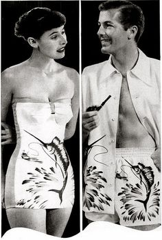 """His and hers matching Catalina swordfish bathing suits - """"Sweethearts In Swimsuits"""" (late 1940s). #vintage #1940s #swimsuits #summer #fashion"""