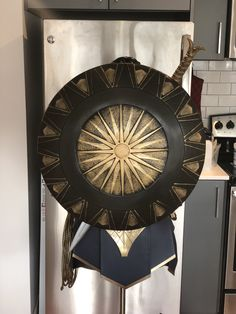 Rubie's Wonder Woman shield after being repainted repainted. You can get this shield on amazon.com