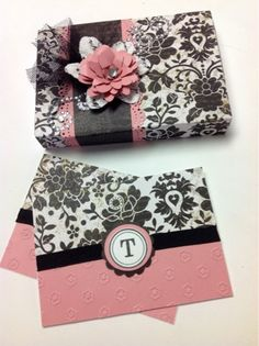 Monogram cards and box set using CTMH cartridge and CTMH For Always paper.