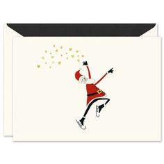 Santa on Ice Greeting Card for Holiday-Christmas Greeting Cards by Vera Wang Holiday Greeting Cards, Christmas Greetings, Christmas Holidays, Stationery, Santa, Joy, Vera Wang, Prints, Christmas Vacation