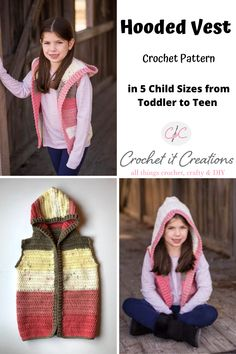 Child Hooded Vest Crochet Pattern - Crochet It Creations Crochet Jumper Pattern, Boy Crochet Patterns, Crochet Hood, Crochet Ideas, Crochet Projects, Crochet Toddler, Crochet Baby Clothes, Crochet For Boys, Easy Crochet