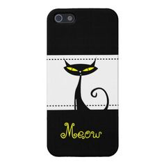 Cool Black Cat Yellow Eyes Meow iPhone 5 Case