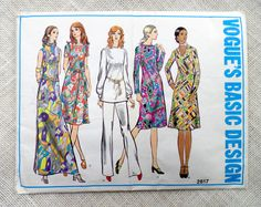Vogues Basic Design 2617; ca. 1971; Misses Petite and Misses Dress, Tunic and Pants. Semi-fitted A-line dress, two inches below knee or