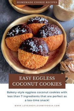 Bakery style eggless coconut cookies with only 6 easy ingredients such as All-Purpose Flour, desiccated coconut, butter, sugar etc. These cookies have crispy exteriors, soft middle and a balanced coconuty & mildly sweet flavour which makes it a perfect tea time snack. Read the full recipe on my blog! Easy Homemade Cookie Recipes, Eggless Cookie Recipes, Eggless Baking, Homemade Cookies, Baking Recipes, Dessert Recipes, Cookie Bakery, Tea Time Snacks, Coconut Cookies