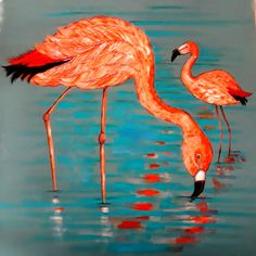 "Flamingo Fine Art card Original Artwork Exotic Orange Bird Image Large Square Blank 6""x6"" Stationery Gift Card ,glowing print colours"