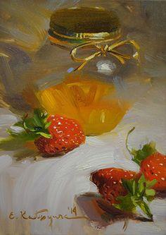 Honey and Strawberries by Elena Katsyura Oil ~ 6 x 6