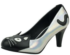 So adorable... Iridescent Kitty Heels A8558L | T.U.K. Shoes