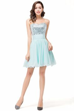 Mint Green Sequins A-Line Off The Shoulder Sweetheart Neck Lace Up Back Short Party Cocktail Dress