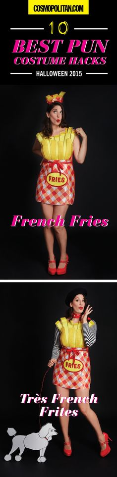 10 Best Pun Halloween Costume Hacks. P.S.- I made this...Très French Frites Costume