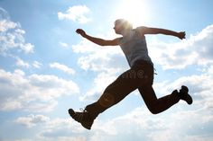 Young man jumping against cloudy sky. Young man is jumping against cloudy sky. U #Sponsored , #SPONSORED, #Affiliate, #man, #cloudy, #jumping, #Young Watercolor Paper Texture, Pencil Art Drawings, Young Man, Sky, Stock Photos, Fall, People, Blue, Heaven
