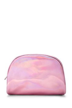 A faux patent leather makeup bag with a holographic finish and a high-polish top zipper.