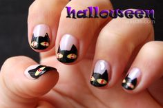 Uñas decoradas con gatos negros // Halloween nails // #cats