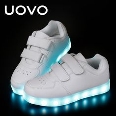5d4ec1c5c96c Nice UOVO Kids Luminous Shoes toddler Boys   Girls LED White Shoes USB  Charger Casual Sneakers