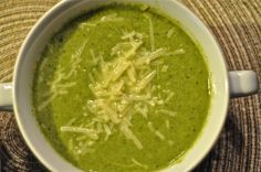 Asparagus, broccoli and spinach soup