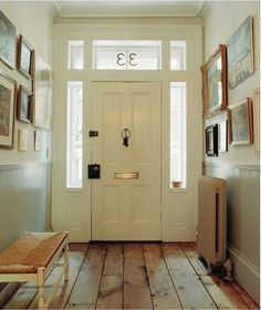 Wonderful front door  - love the pine floors & size of the entry