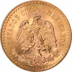 Mexican 50 Peso Gold Coin, reverse