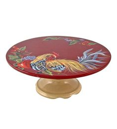 Burgundy Rooster Cake Plate.  Love it because it is unusual!!