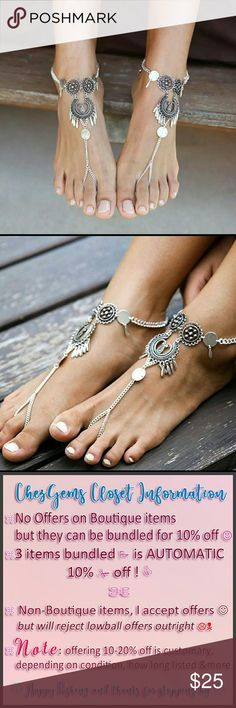 COMING SOON !! Boho Foot Ankle Chain Oxidized NWT COMING SOON. Comment below to be tagged when they're in. Just a few days away.   These are so cool. Sold as ONE ankle chain (not a pair, but you can buy 2, because they look so cool as a pair❤ ) of oxidized silver boho ankle chain to step up your foot & ankle game this summer.  Get that pedi and show off this gorgeous look !  Bundle & Save !! CG DESIGNS Jewelry