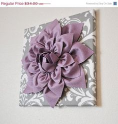"MOTHERS DAY SALE Wall Art - Lilac Purple Dahlia on Gray and White Damask 12 x12"" Canvas Wall Art - Baby Nursery Wall Decor -"