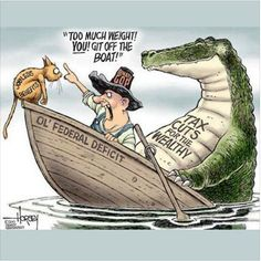 This political cartoon is a comical representation of satire showing the Senate GOP getting rid of a cat that represents the jobless people and the benefits they provide. The Alligator in the back. Political Memes, Political Cartoons, Funny Politics, Satirical Cartoons, Satirical Illustrations, Liberal Politics, Political Art, Political Science, Funny Cartoons