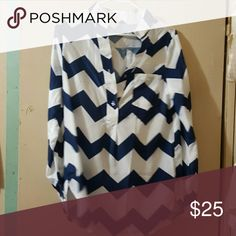 Blue and white chevron blouse Blue and white chevron blouse great with skinny jeans Tops Blouses