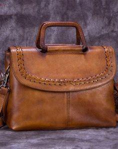 Genuine Leather Handbag Vintage Crossbody Bag Shoulder Bag Purse For Women