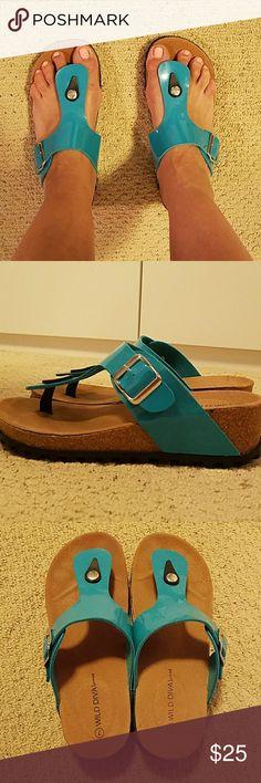 Thong Summer Sandal - Birkensrock Look Alike! Cute teal/aqua summer sandal, slight wedge. Comfortable And stylish. Wild Diva Shoes Sandals