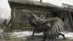 Shelter by Denis Zhbankov - Mega Dark Things Altar, Unusual Art, Creature Concept, Monster Art, Fantasy Inspiration, Fantasy Creatures, Dark Creatures, Alien Creatures, Creature Design