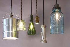 Bottles, jars, flashlights, cans -- so much potential for repurposing as light fixtures.