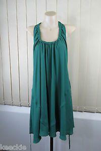 Size L 14 Stella Green Shift Dress Cocktail High TEA Chic Boho Feminine Style | eBay