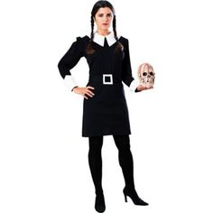 Addams Family Wednesday Costume features a black Puritan dress with white collar and cuffs paired with square buckle belt. Modest Halloween Costumes, Family Costumes, Halloween Fancy Dress, Adult Halloween, Adult Costumes, Costumes For Women, Halloween Ideas, Group Halloween, Halloween 2018