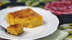 Fácil e rápido de fazer, esse bolo cremoso de milho verde fica muito parecido com a consistência de pamonha e por isso o nome.