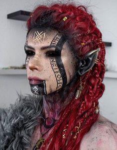 Cosplay Costume, Cosplay Makeup, Costume Makeup, Maquillage Halloween, Halloween Face Makeup, Sfx Makeup, Hair Makeup, Krieger Make-up, Viking Makeup